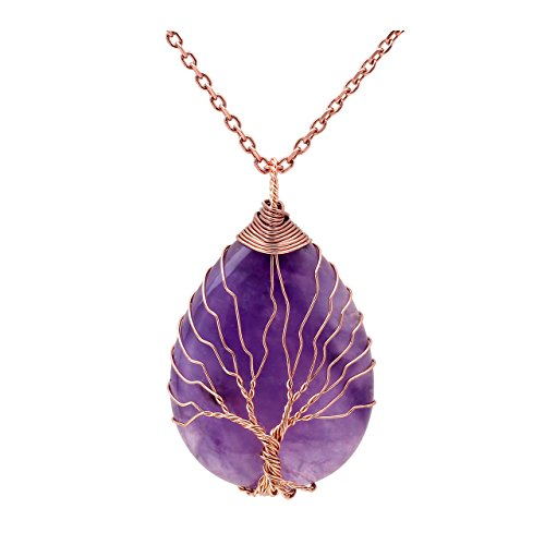 Top Plaza Wire Wrapped Tree of Life Natural Gemstone Teardrop Pendant Necklace Healing Crystal Chakra Jewelry for Women - (Amethyst Pendant Jewelry)