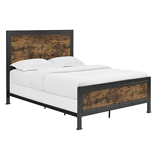 Bedroom Walker Edison Rustic Farmhouse Queen Metal Headboard Footboard Bed Frame Bedroom, Reclaimed Brown Wood farmhouse beds and bed frames