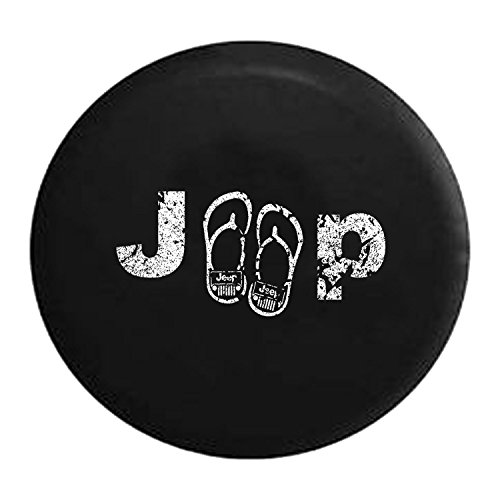 American Unlimited Distressed - Jeep Flipflop Sandals Beach Spare Tire Cover Black Spare Tire Cover Black 33 Inch