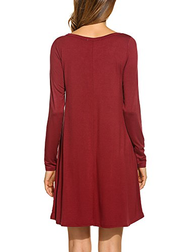 4 Loose Casual Bluetime Dress Wine Long Winter Red Sleeve Basic Fall Women's aB4zFqS