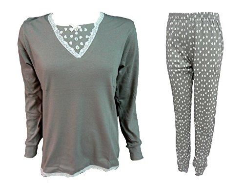 art Nazareno Tortora DO121 pigiama donna caldo Gabrielli cotone xq8wXq6fr