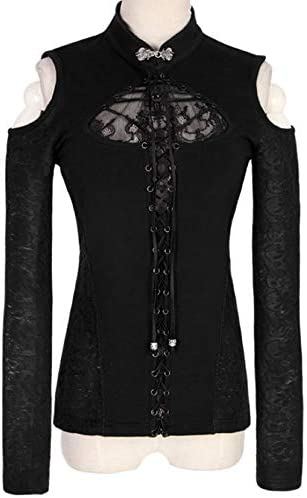Nite closet Steampunk Tops Women Black Cut Out Lace Up Long Sleeve