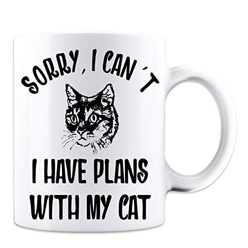 Sorry I Can't I have Plans With My Cat - Funny Novelty Cat Lover Mug - White 11 Ounce Coffee Mug - Great Novelty Gift for Cat Lovers, Pet Lovers, Mom, Dad, Co-Workers and Friends by Mad Ink Fashions