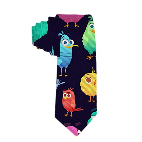 Handmade Ties For Men:Skinny Woven Slim Tie Mens Ties-Thik Necktie Angry Birds Pattern Game Parrots And Exotic Baby Neckties For Every Outfit -