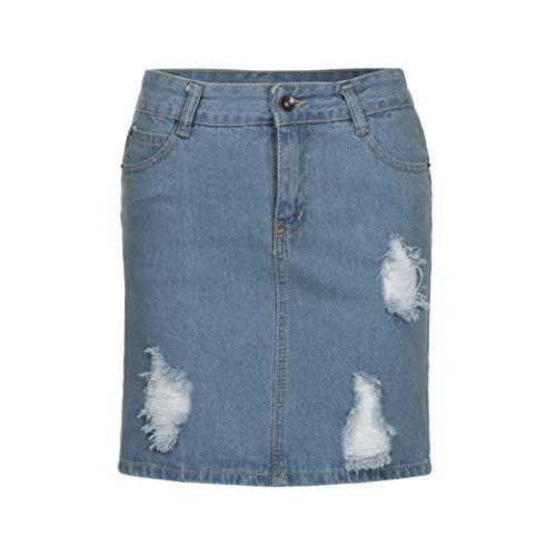 Bleu Dcontract Bouton ESAILQ Unie Jupe Femmes Denim Jeans HwOHgCFWq7