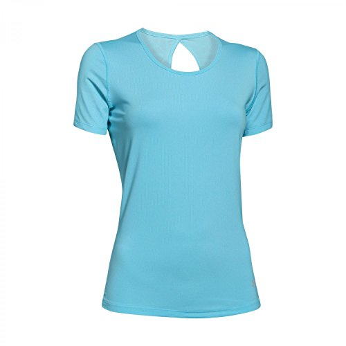 Under Armour Women's HeatGear Coolswitch Short Sleeve Top Sky Blue/Metallic Silver LG (US 12-14)