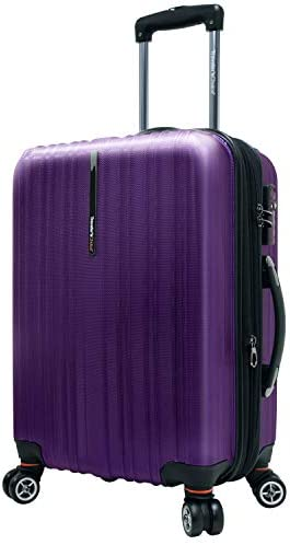 Traveler s Choice Tasmania 100 Pure Polycarbonate Expandable Spinner Luggage, Purple, Carry-on 20-Inch