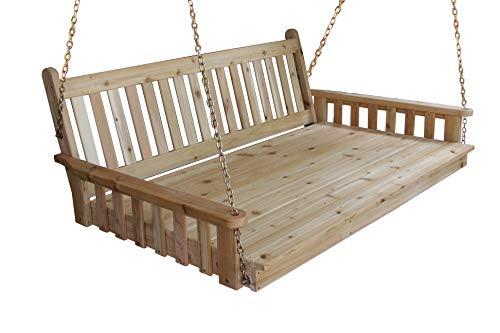 BEST HANGING PORCH SWING BED SWINGBED, 6' Cedar Swinging Daybed For Relaxing Moments, Fun 3 Person Seating For Patio Porches Pergola Furniture, Amish Made Deep Wood Swings, Cushion Not Included ()
