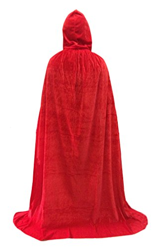 Unisex velvet Hooded Cloak Role Cape Play Costume Red 170cm (Medieval Halloween Costumes)