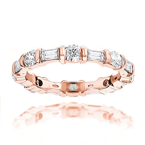 Luxurman Ladies 14K Baguette and Round Natural Diamond Eternity Band (Rose Gold Size 7.5)