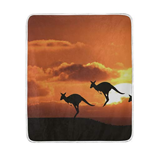 Australia Blanket - Kangaroo Sunset Australia Wallpaper Luxury Fleece Woolen Blanket, Plush Lightweight Thermal Cozy Soft Warm Fuzzy Carpet for Bed Couch Easy Care
