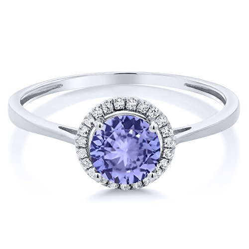 10K White Gold Diamond Engagement Ring Round Blue Tanzanite (1.12 cttw, Available in size 5, 6, 7, 8, 9)