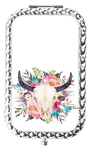 (IMLONE Rectangle Silvery Floral Bull Skull Compact Purse Mirror with 2X Magnification, Portable Folding Makeup Mirror, Great Choice and Best Gift for You and Your)