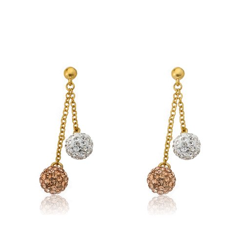 Molly Glitz Glitz Blitz 14k Gold-Plated White & Rose Crystal Balls Lariat Dangle Earring