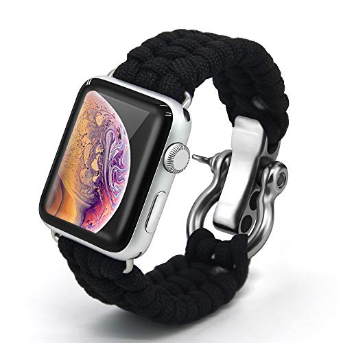 Bellamei Paracord Bracelet Survival Bracelets Compatible for Apple Watch Band 42mm 38mm iWatch 44mm 40mm Band Sport Wristbands for Series4/3/2/1 Nike+ Edition (Black, 42mm/44mm)