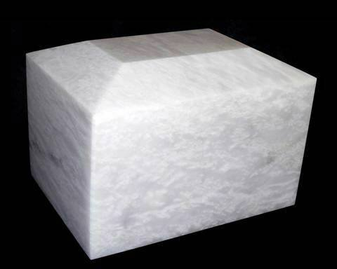 Decorative White Marble Cremation Urn, White Funeral and Burial Urn Vault for Ashes by Khan Imports (Image #3)