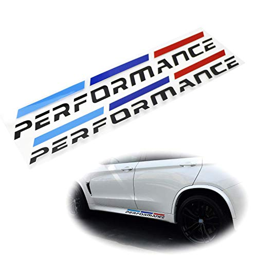 iJDMTOY (2) 20x3-Inch Iconic M-Performance Tri-Color Stripe Decal Stickers Compatible With BMW Side Skirt, Side Door Cosmetic Decoration, Made w/Reflective Material