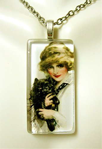 (Girl with black cat glass pendant - CGP02-307 - Harrison Fisher)