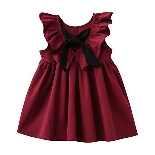 Weixinbuy Baby Girls Bowknot Ruffles Sleeveless Party Wedding Princess Dresses
