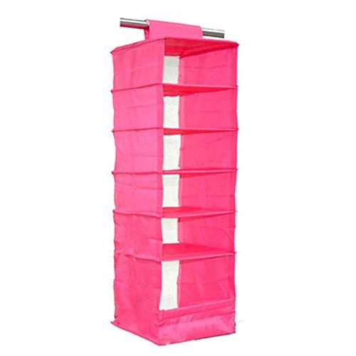 Storage Wardrobe and Clothes Organizer (Hot Pink) - 6