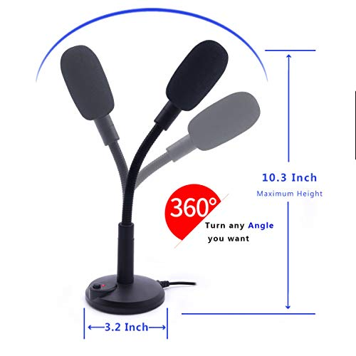 USB Microphone, Plug &Play PC Microphone with LED Indicator, Omnidirectional Condenser Microphone with Mute Button, Computer Microphone for Computer/Laptop /Desktop/Windows/Mac, Ideal for Youtube, Sk by SGYD (Image #6)