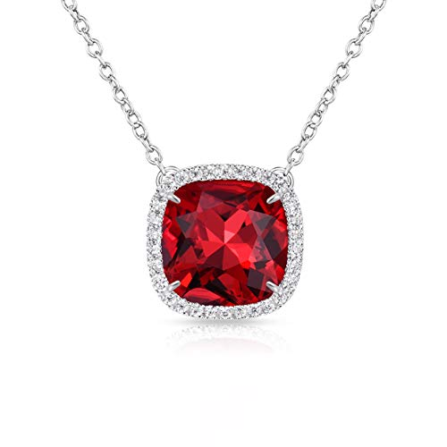 (Alantyer Birthstone Necklace Made with Square Swarovski Crystal for Women and Girls,Garnet (January Birthstone))