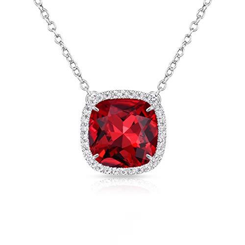 - Alantyer Birthstone Necklace Made with Square Swarovski Crystal for Women and Girls,Garnet (January Birthstone)