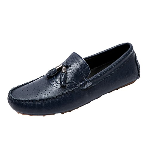 Anguang Hommes Gland Moccasins Slip On Chaussure de Conduite en PU Cuir Chaussure Bateau Loafers Bleu Foncé 8YwwTn0F6
