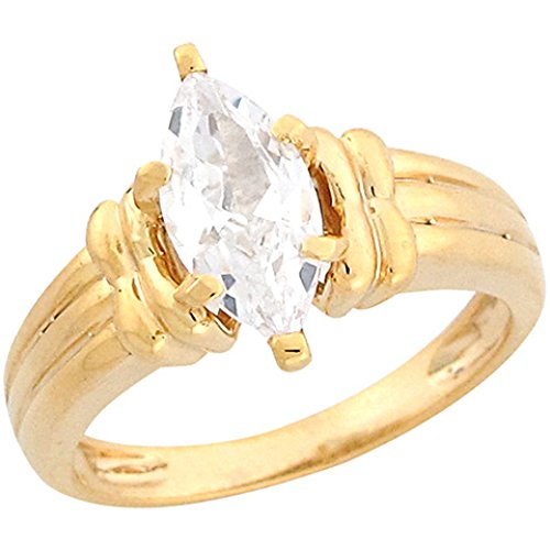 10k Yellow Gold 2.02ct CZ Marquis Solitaire Rope Band Engagement ()