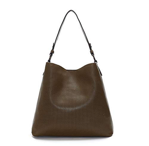 Laser Cut Vegan Leather Designer Tote Hand-bag (Chocolate Brown) -