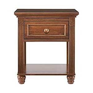 Montana Collection Natural Hardwood Nightstand End Table Combo   Lasting Quality & Design   Kiln-dried & Hand-Crafted Construction, Brown Sugar