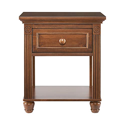 Montana Collection Natural Hardwood Nightstand End Table Combo | Lasting Quality & Design | Kiln-dried & Hand-Crafted Construction, Brown Sugar
