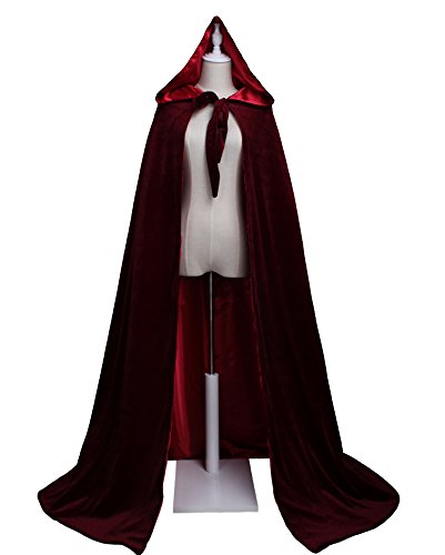 LuckyMjmy Velvet Renaissance Medieval Wedding Cloak Cape Lined with Satin (Medium, (Velvet Cape With Hood)