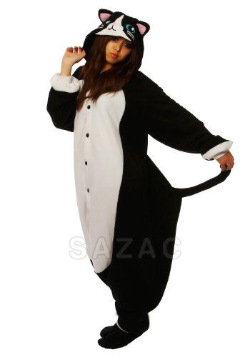 Cat Kigurumi (Adults XL, Black & White)]()