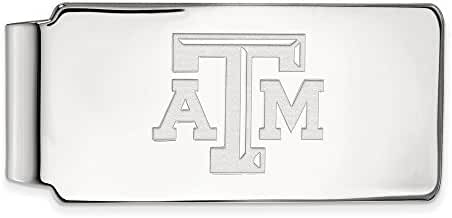 14k White Gold LogoArt Official Licensed Collegiate Texas A&M University (TAMU) Money Clip