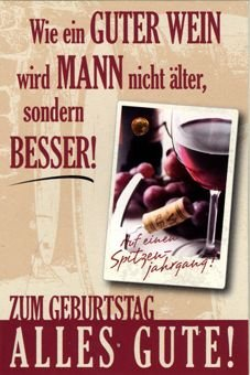 Karte Geburtstag Motiv Trauben Wein Spruch Rot Auf Festem Papier