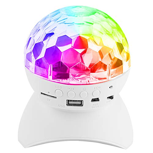 Disco Stage Light & Wireless Speaker, PEMOTech Magic Ball Stage Lamp, Auto Rotating Party Light with USB, TF Card Port, Aux Input, for Holiday, Wedding, Christmas, Halloween, Birthday -