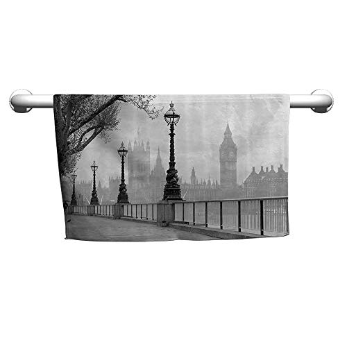 Valentines London Decor Collection,View of Big Ben from The Walking Way by The Thames River with Street Lights Under Rain Picture,Grey,Hooded Towel for Boys
