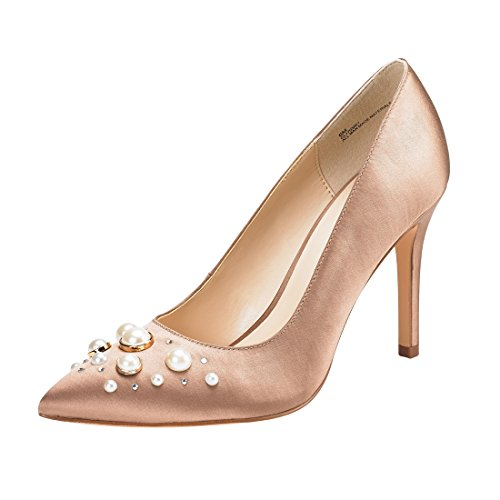JENN ARDOR Stiletto High Heel Shoes for Women: Pointed, Closed Toe Classic Slip On Pearl Dress Pumps-Silk Nude 9.5 B(M) US