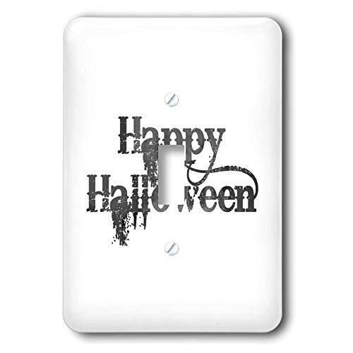 3dRose InspirationzStore - Occasions - Happy Halloween grunge grungy scary writing font dark grey text - single toggle switch (lsp_318144_1) ()