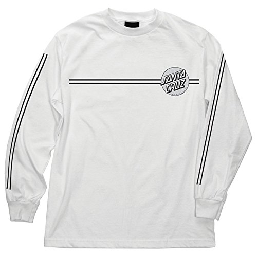 Santa Cruz Mens Other Dot Regular Long-Sleeve Shirt Medium White/Silver