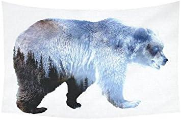 INTERESTPRINT Animal Wall Art Home Decor, Bear Tapestry Wall Hanging Art Sets 60 X 40 Inches