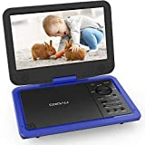 COOAU 12.5' Portable DVD Player, High-Brightness Swivel Screen, Supports All Region, AV-in/AV-out/SD/USB/CD/DVD, 5-Hours Rechargeable Battery, Remote Controller, Blue