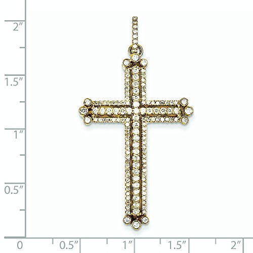 Or 14ct Diamant Pendentif Croix budded