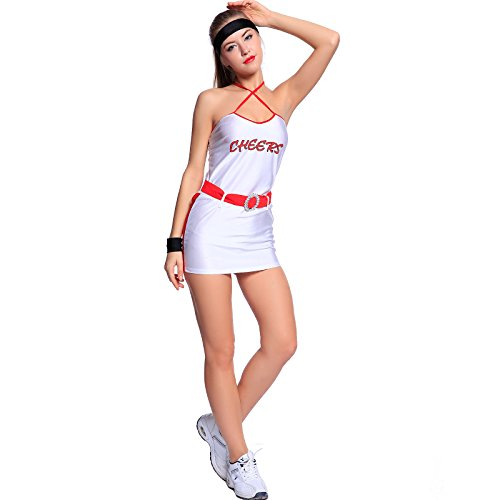 Laker Girls Costumes (2 Pcs Sexy Ladies Basketball Player Sports Cheerleader Fancy Dress (White))