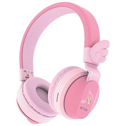 Riwbox BT05 Wings Kids Headphones Wireless Bluetooth Foldable Over Ear Headset with Volume Limited and Mic/TF Card Compatible for iPad/iPhone/Tablet (Pink&Red)