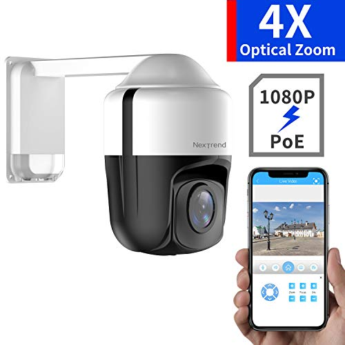 1080P PTZ Camera, NexTrend 3.5Inch Mini PTZ Security Camera with PoE+, 4X Optical Zoom 150ft Night Vision with Audio Monitoring, PoE+ PTZ Outdoor Security Camera, Easy Install&Control Auto Focus - Control Camera Ptz