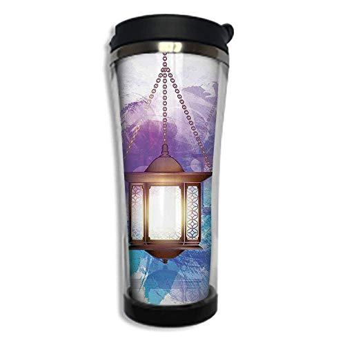 Customizable Travel Photo Mug with Lid - 8.45 OZ(250 ml)Stainless Steel Travel Tumbler, Makes a Great Gift by,Lantern,Antique Traditional Arabic Lantern Mystic Religious Symbolic Decorative Design De