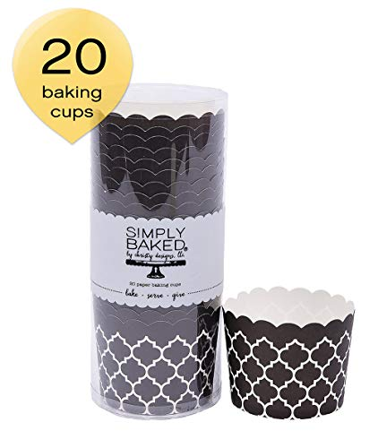 Simply Baked Large Paper Baking Cups Black Quadrafoil 20-Pack Disposable and Oven-safe