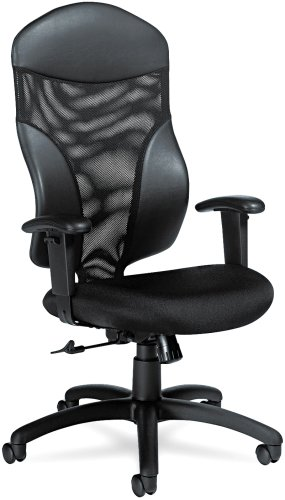 Global 19504 Tye Mesh Management Series High-Back Swivel/Tilt Chair, Black by Global